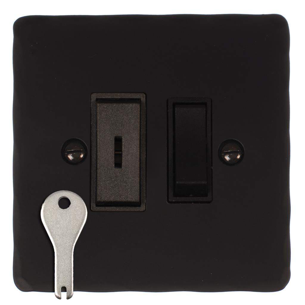 1 Gang Black Grid Key Switch Matt Black HammeredPlate