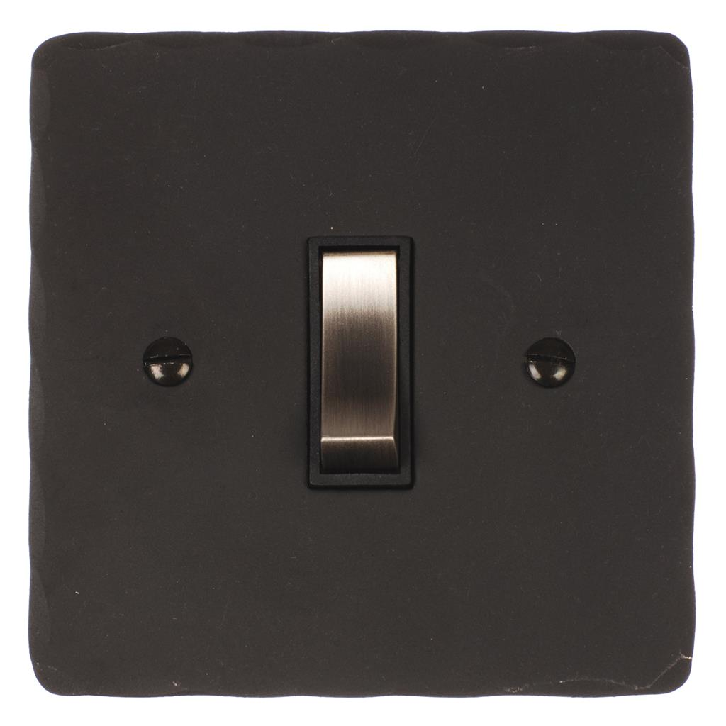 1 Gang Steel Retractive Grid Switch BeeswaxHammered Plate