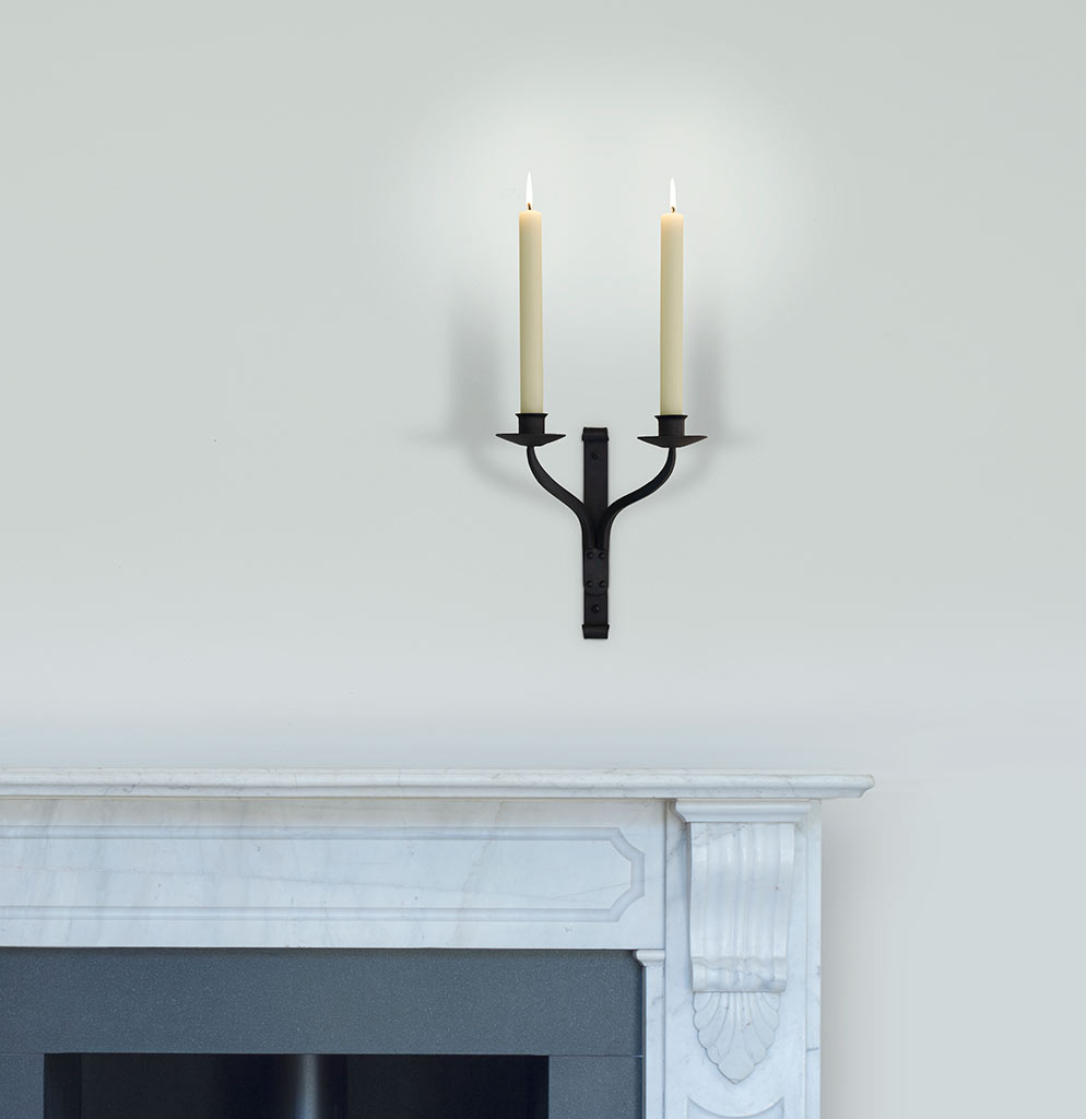 Friston Double Candle Sconce in Matt Black