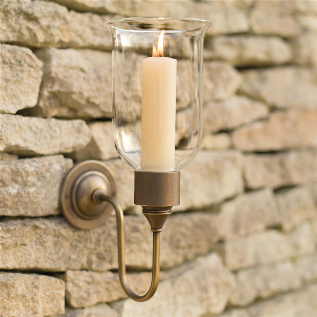 Hurricane Candle Sconce in Antiqued Brass