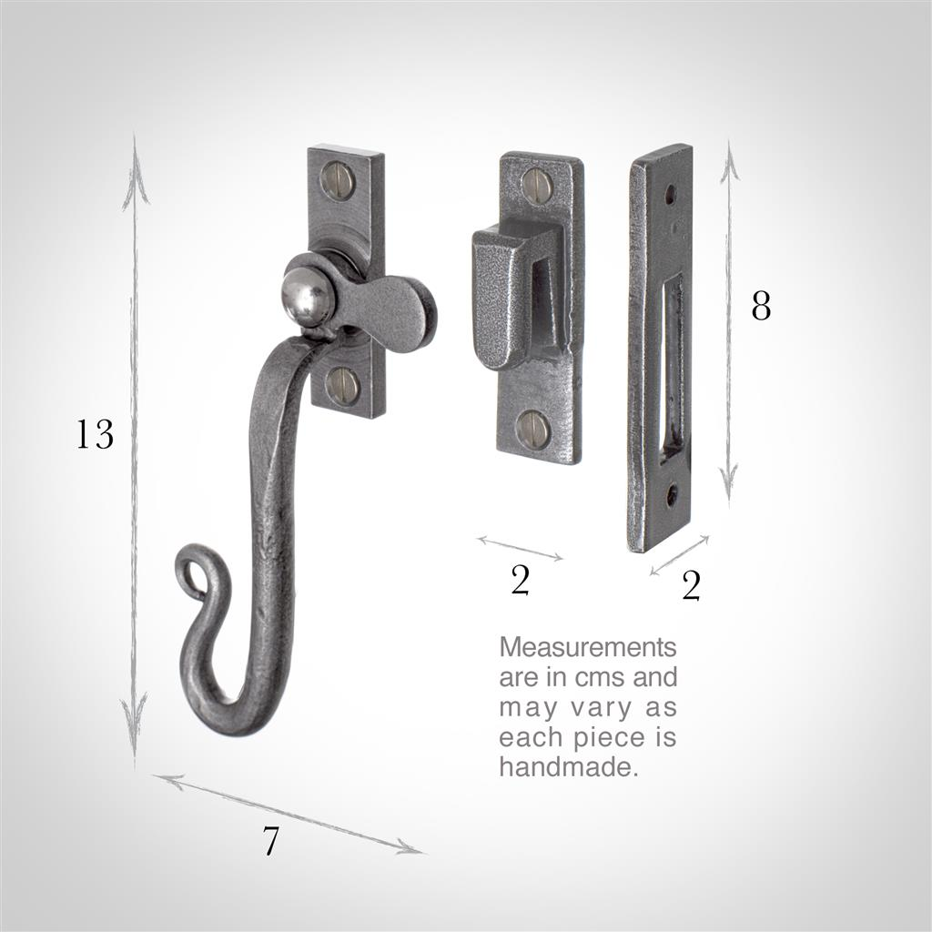 Right Shepherd's Crook Window Latch in Polished