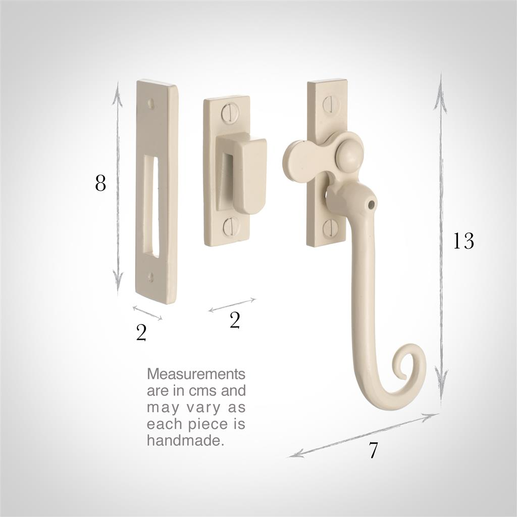 Monkey Tail Lockable Window Latch (Left Side) inPlain Ivory