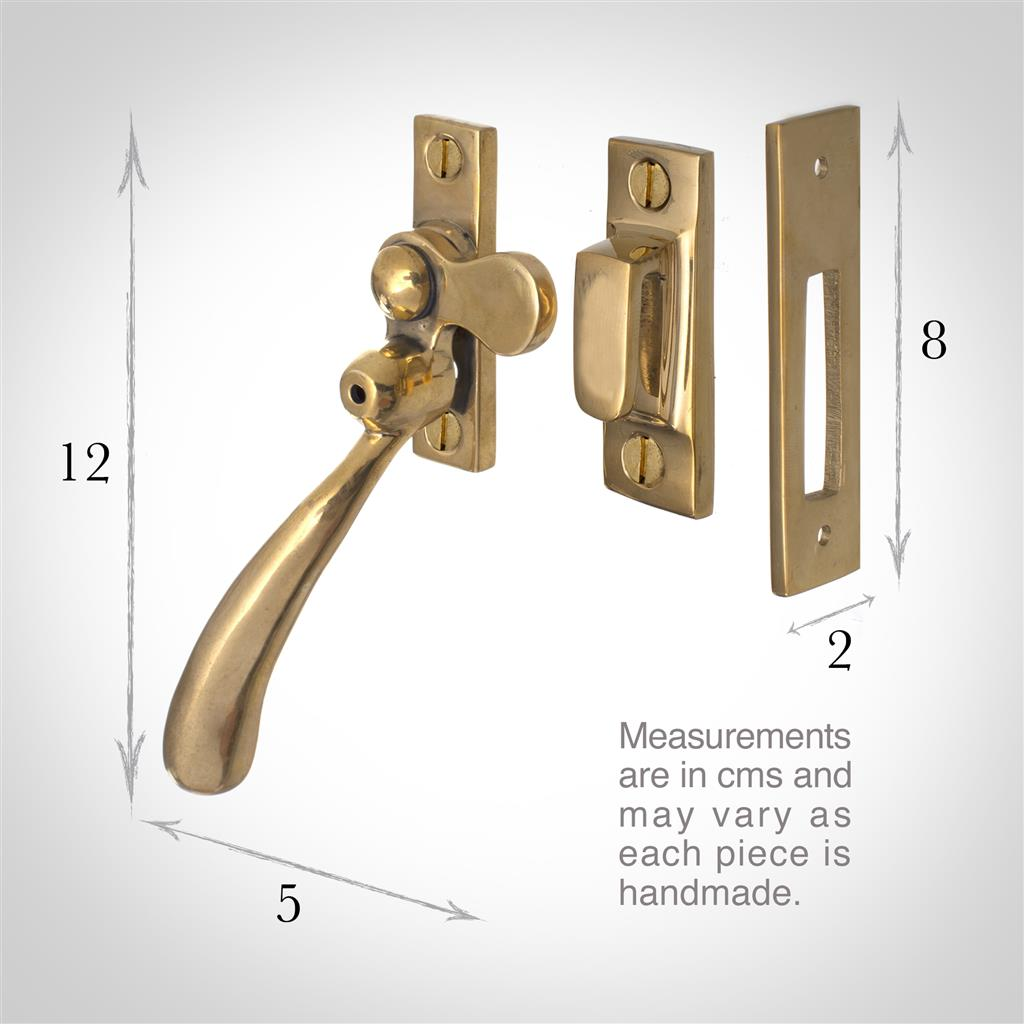 London Lockable Window Latch in Polished BrassRight Side