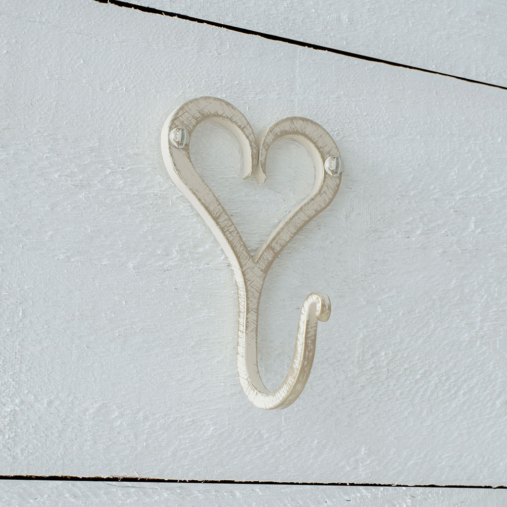 Forged Heart Hook in Old Ivory