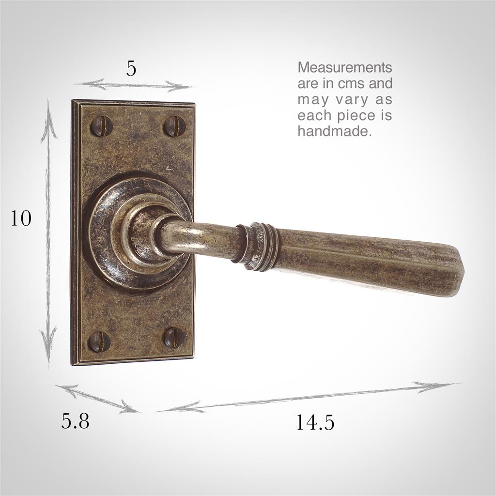Chester Handle, Ripley Short Plate, Antiqued Brass