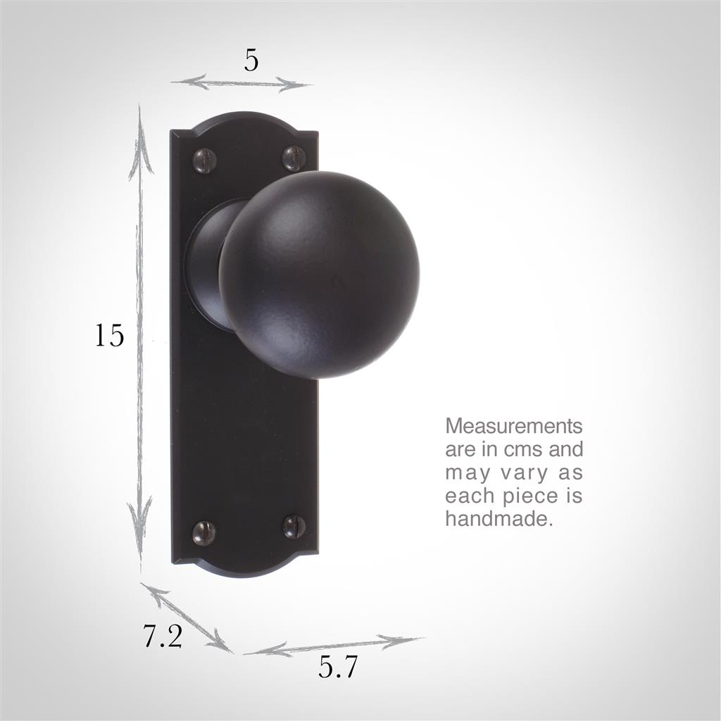 Holkham Door Knob, Nowton Plain Plate, Matt Black