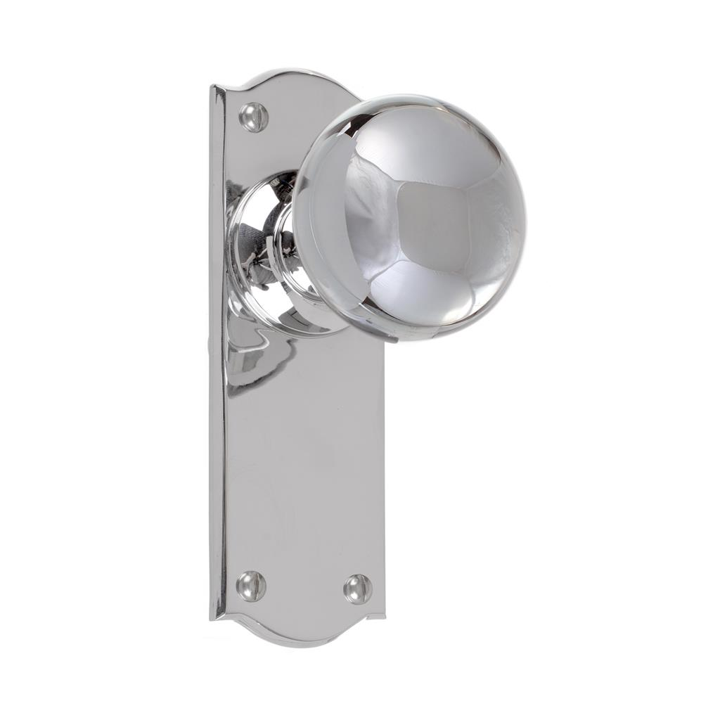 Holkham Door Knob, Nowton Plain Plate, Nickel