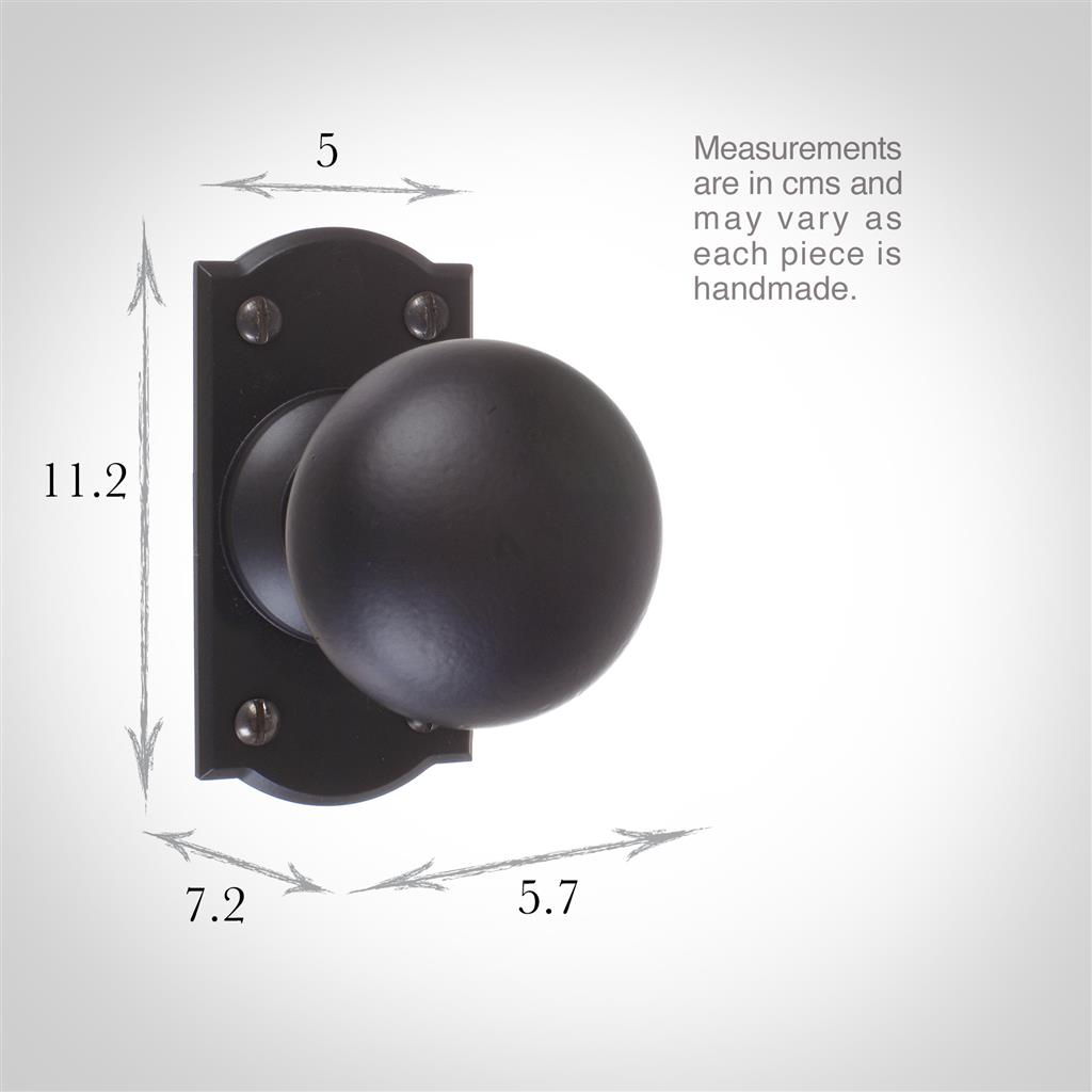 Holkham Door Knob, Nowton Short Plate, Matt Black