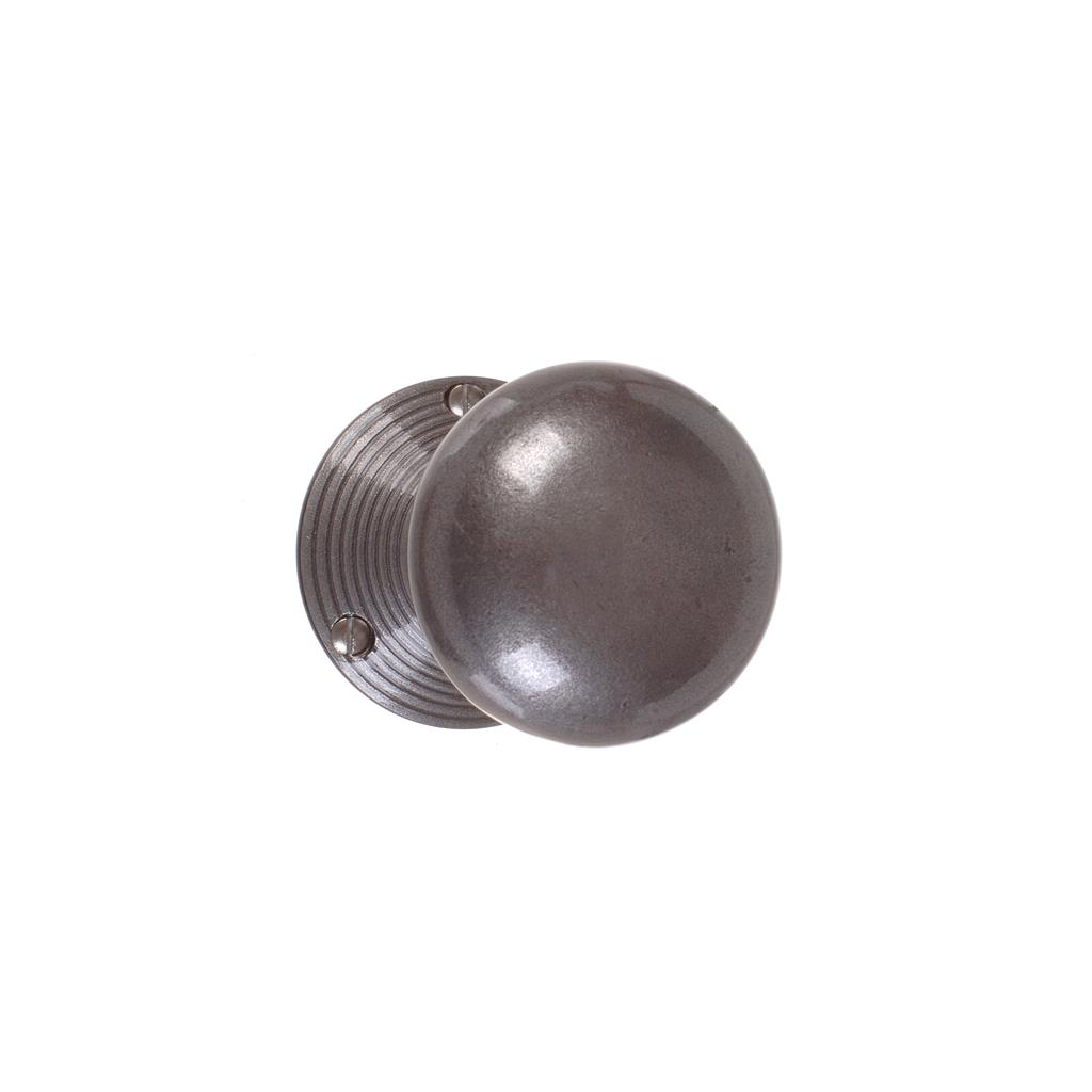 Holkham Door Knob, Reeded Plate, Polished