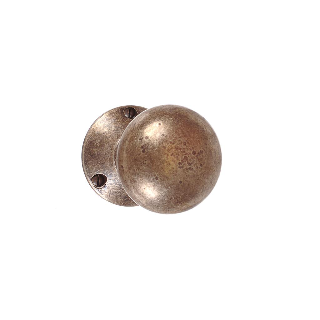 Holkham Door Knob, Rowley Plate, Antiqued Brass