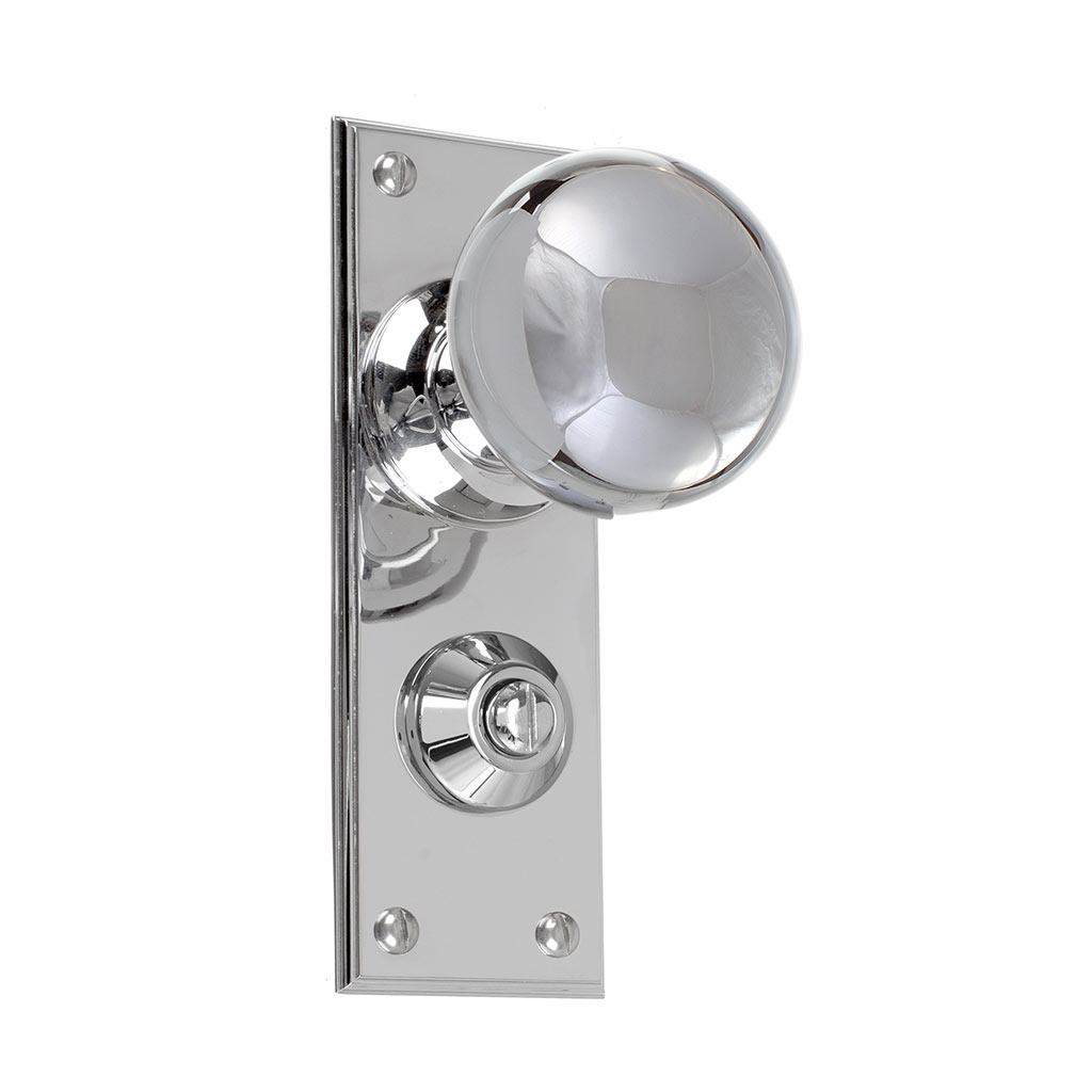Holkham Door Knob, Ripley Privacy Plate, Nickel