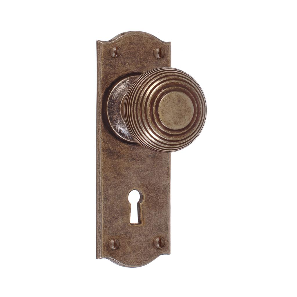 Reeded Door Knob, Nowton Keyhole Plate, Antiqued