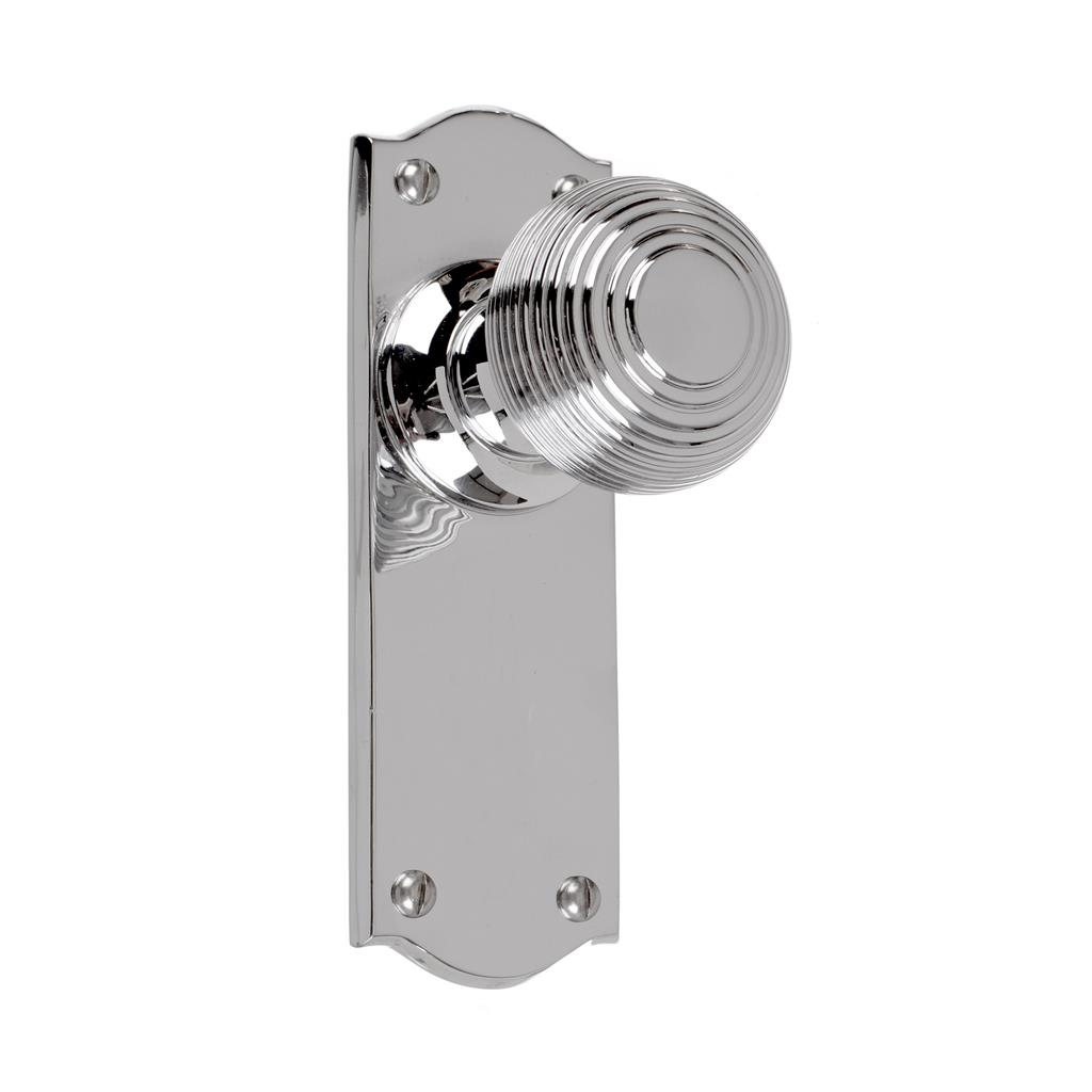 Reeded Door Knob, Nowton Plain Plate, Nickel