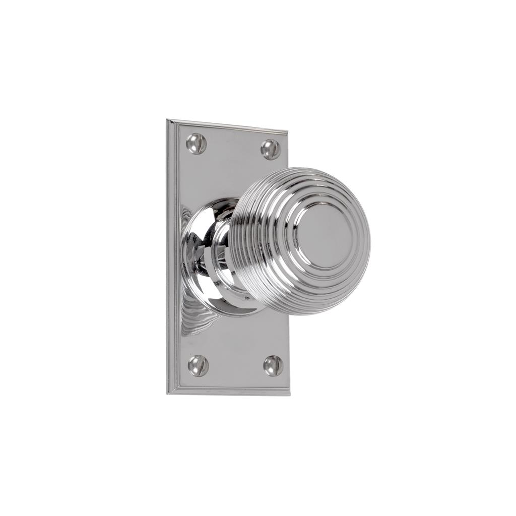 Reeded Door Knob, Ripley Short Plate, Nickel