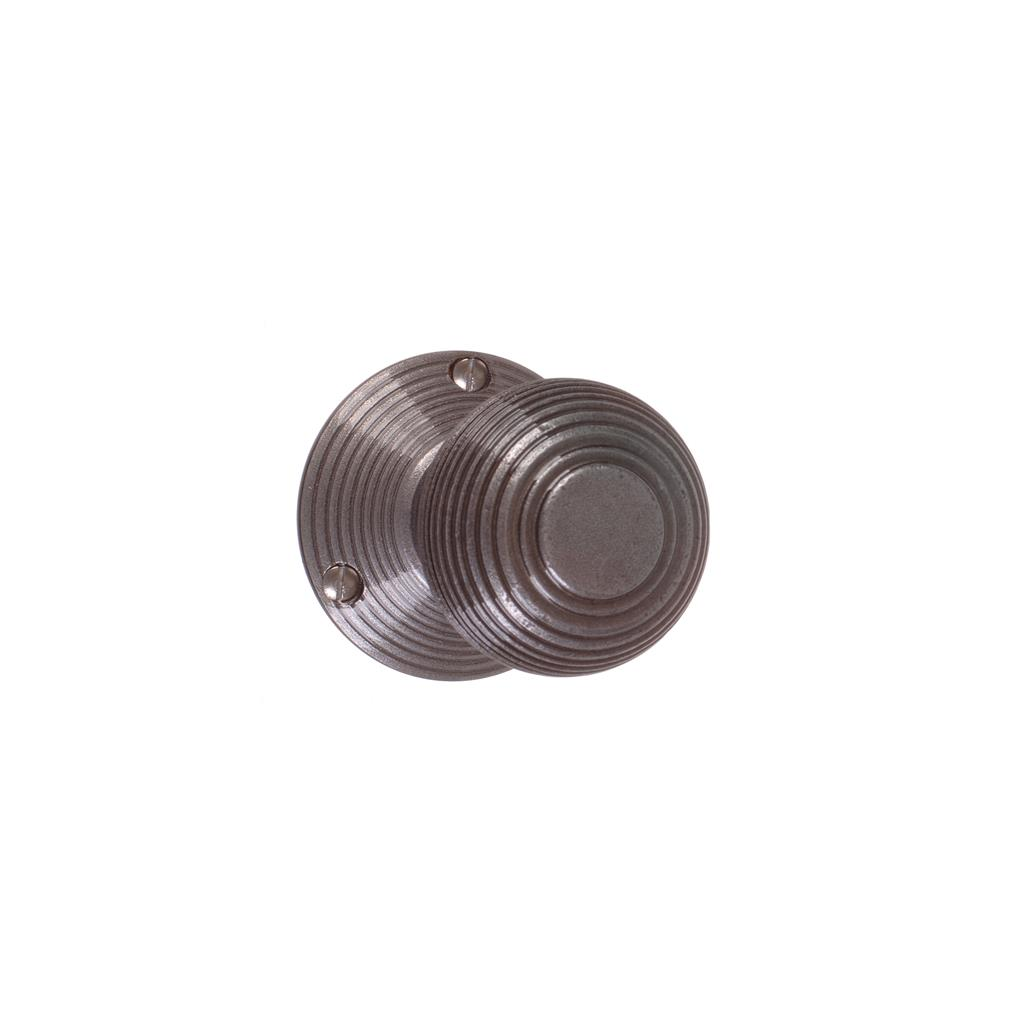 Reeded Door Knob, Reeded Plate, Polished
