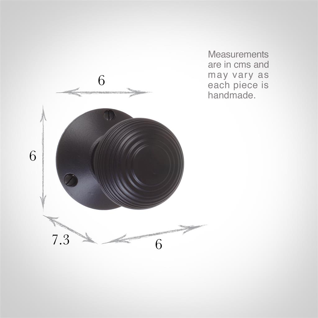 Reeded Door Knob, Rowley Plate, MattBlack