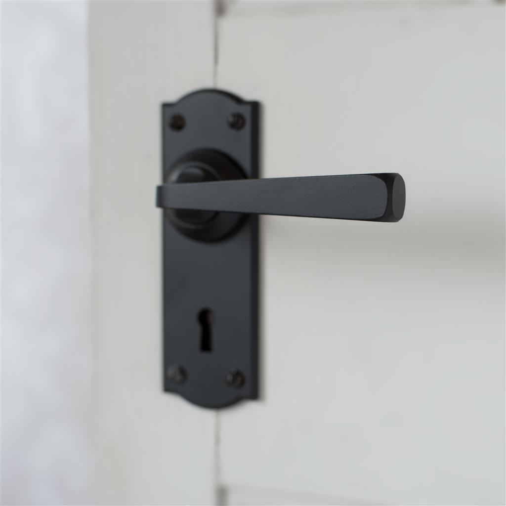Manson Handle, Nowton Keyhole Plate, Matt Black
