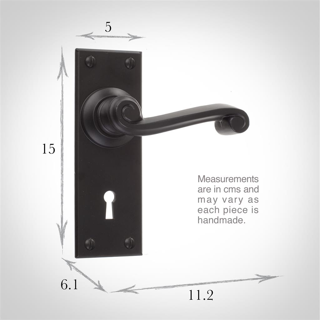 Regency Handle, Bristol Keyhole Plate, Matt Black