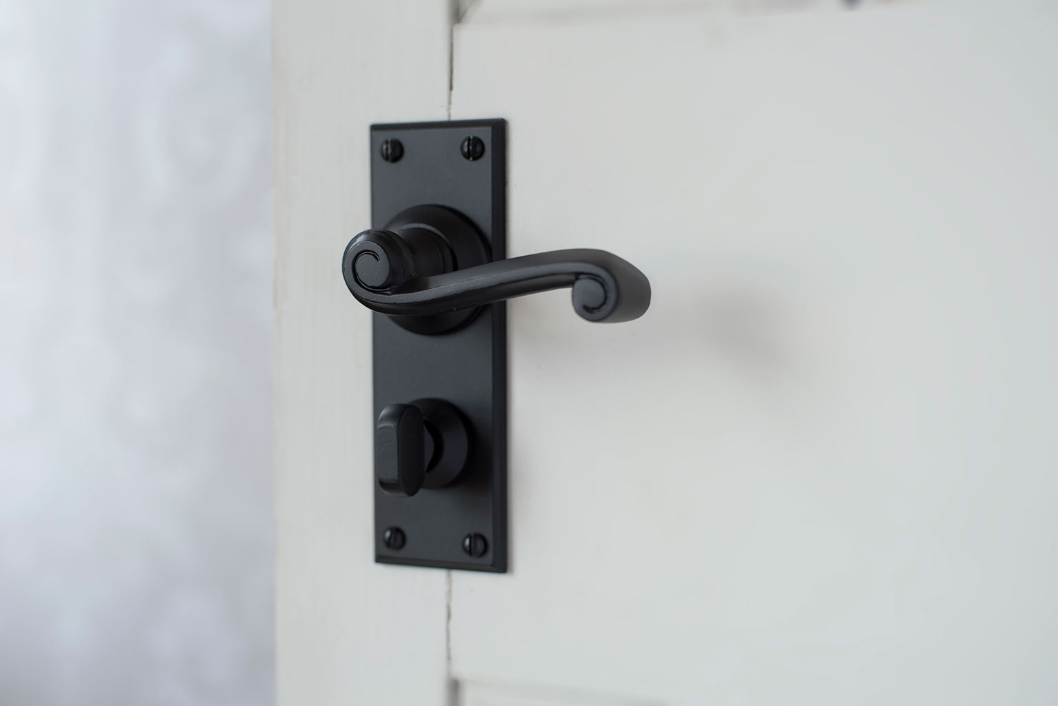 Regency Handle, Ripley Privacy Plate, Matt Black