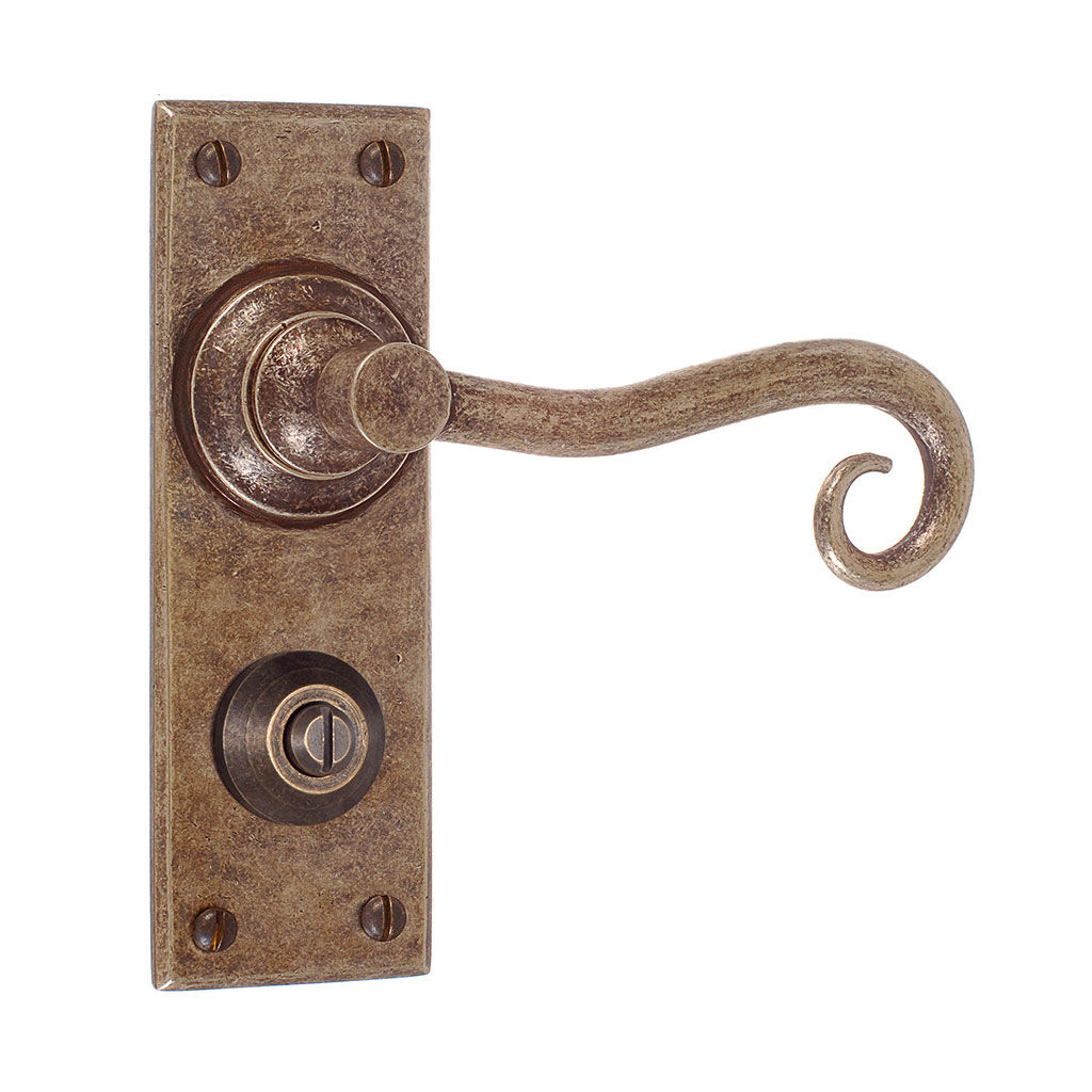 Scrolled Handle, Bristol Privacy Plate, Antiqued Brass