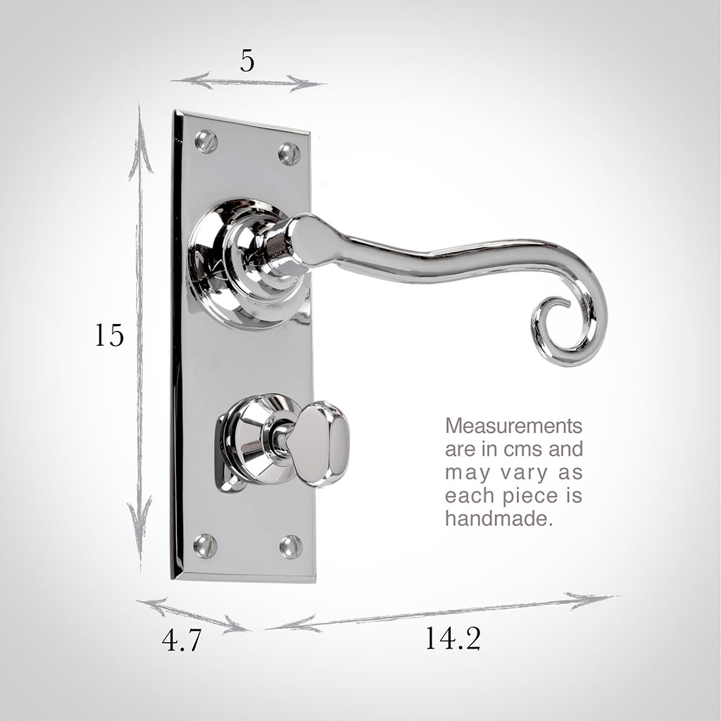 Scrolled Handle, Bristol Privacy Plate, Nickel