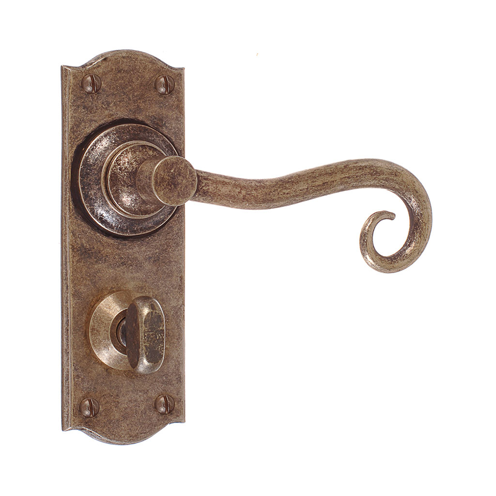 Scrolled Handle, Nowton Privacy Plate, Antiqued Brass