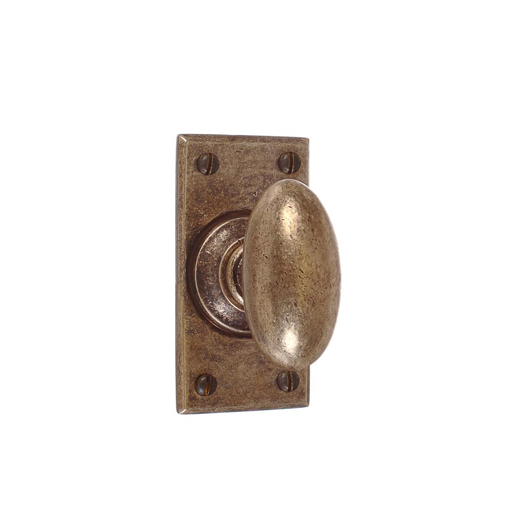 Downley Knob, Bristol Short Plate, Antiqued Brass