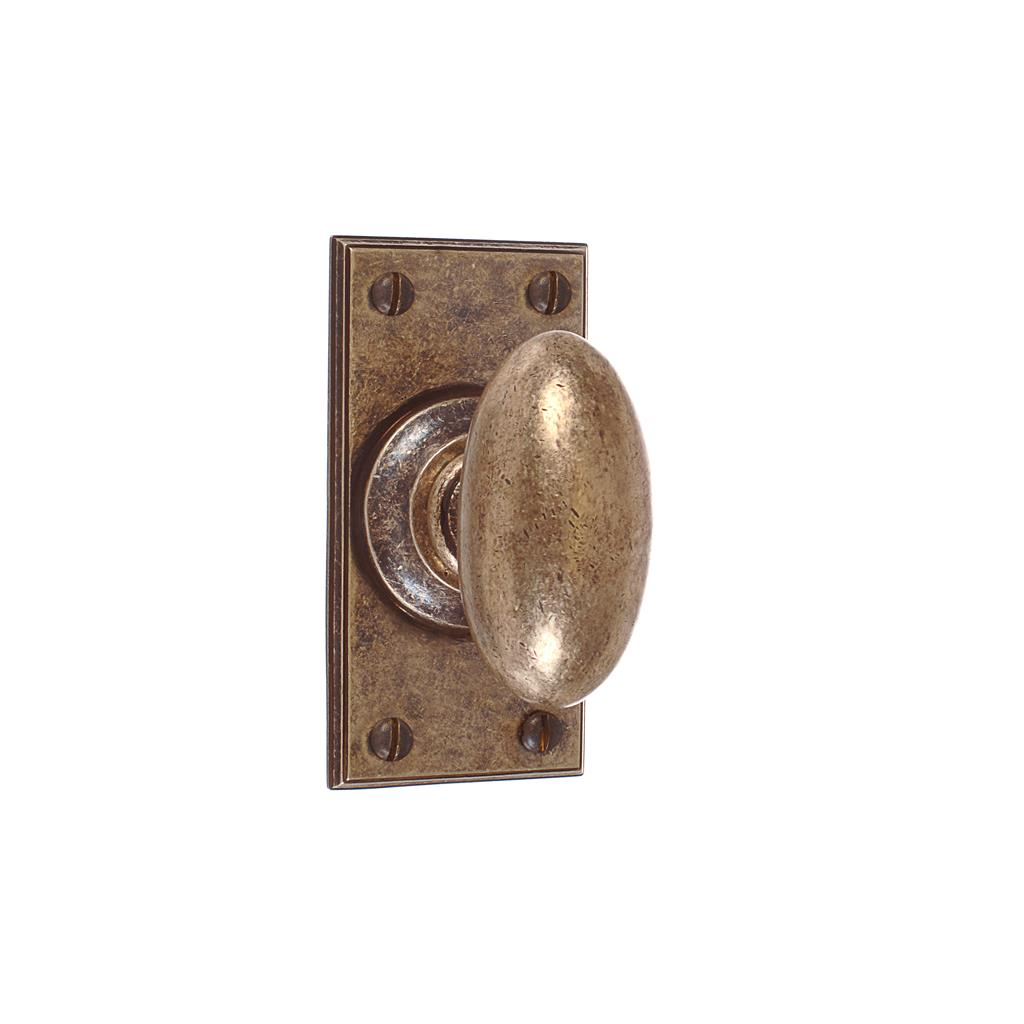 Downley Knob, Ripley Short Plate, Antiqued Brass