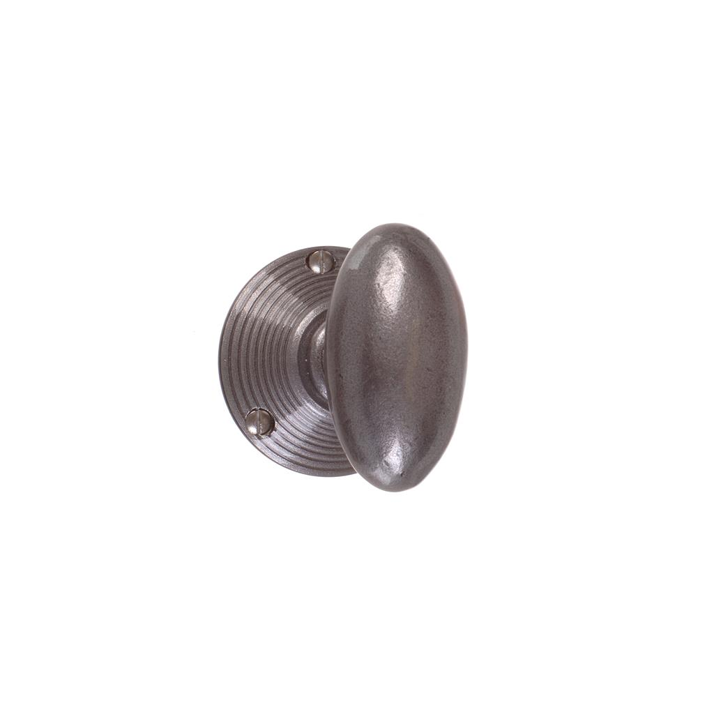 Downley Knob, Reeded Plate, Polished