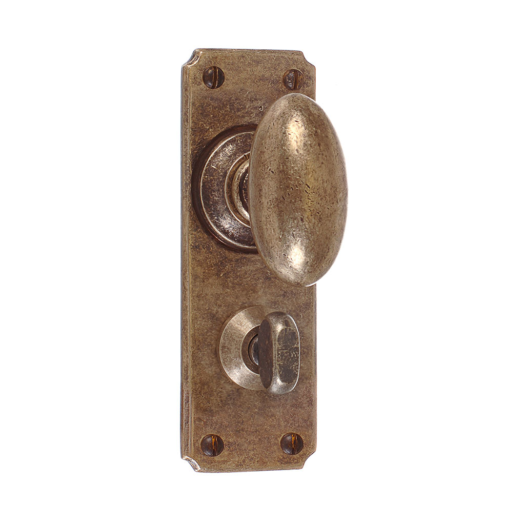 Downley Knob, Ilkley Privacy Plate, AntiquedBrass