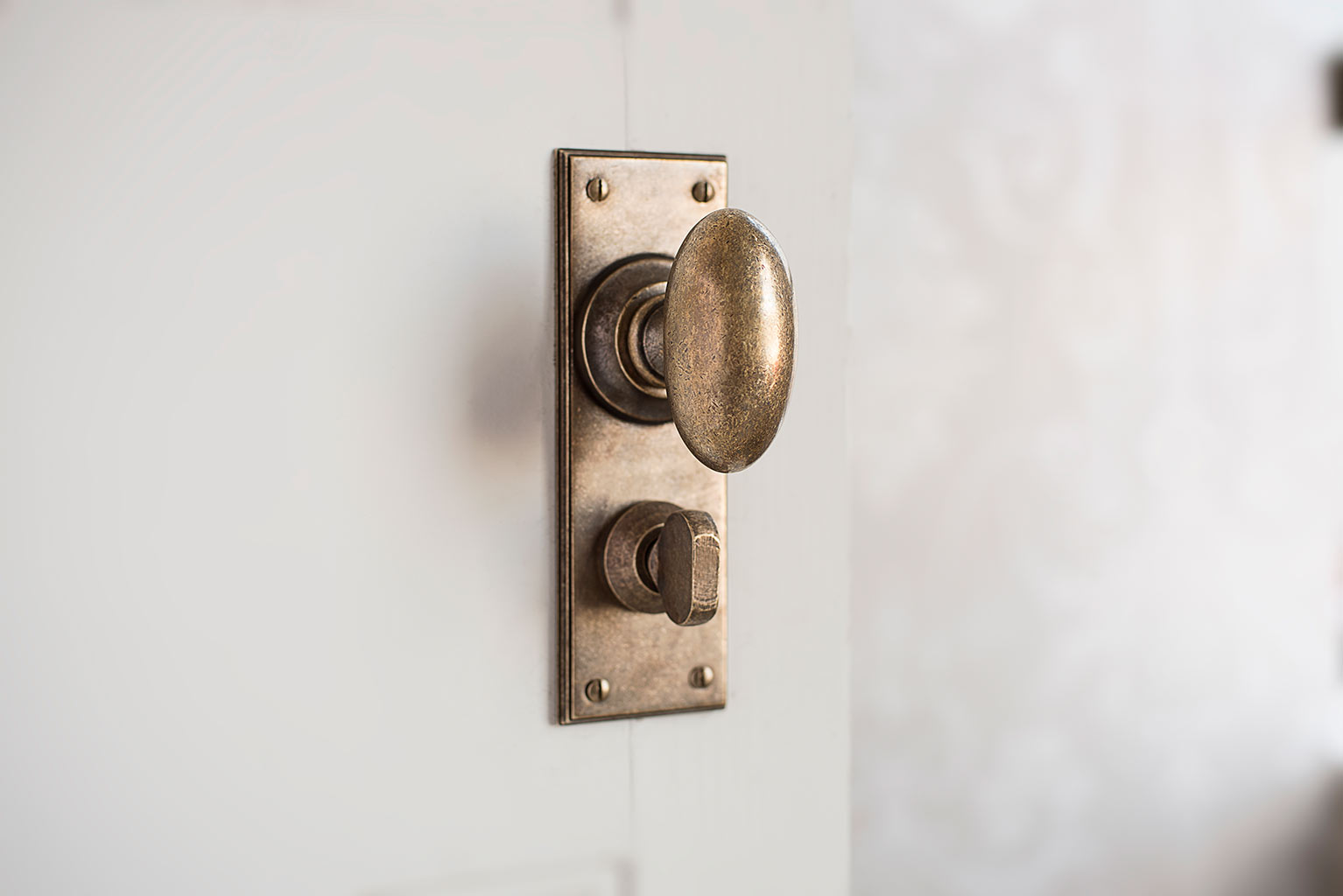 Downley Knob, Ripley Privacy Backplate, Antiqued Brass