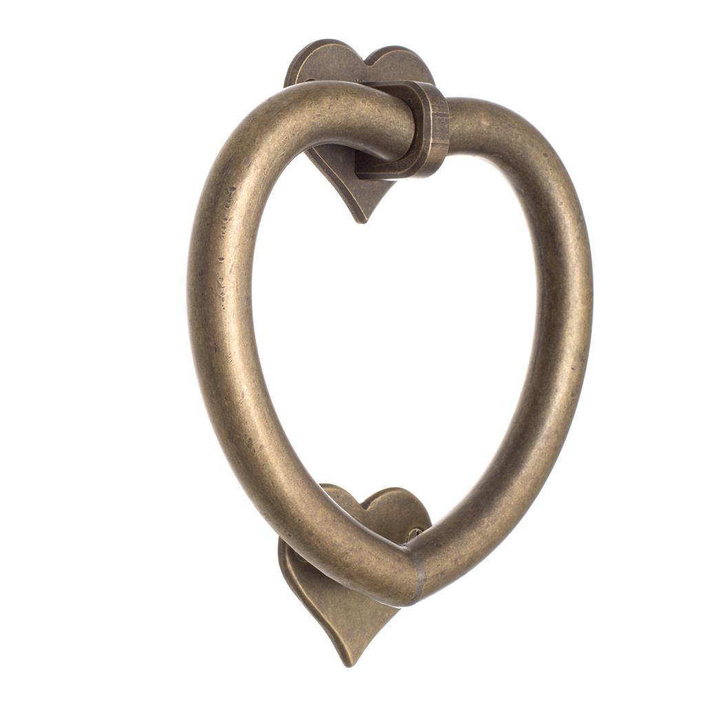 Heart Door Knocker in Antiqued Brass