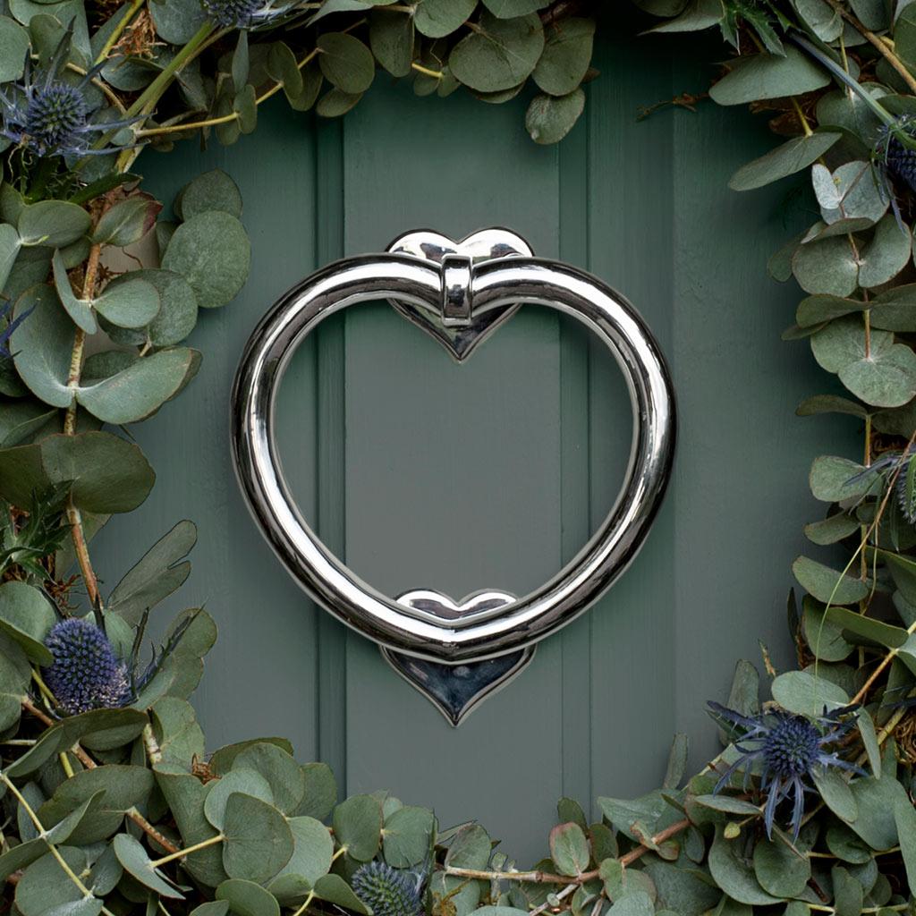 Nickel heart door knocker front door accessories jim - Door knocker nickel ...
