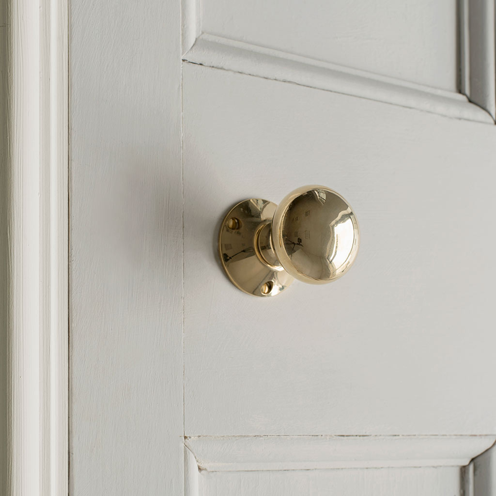 Rim Lock (Right) with Holkham Knob, Polished Brass