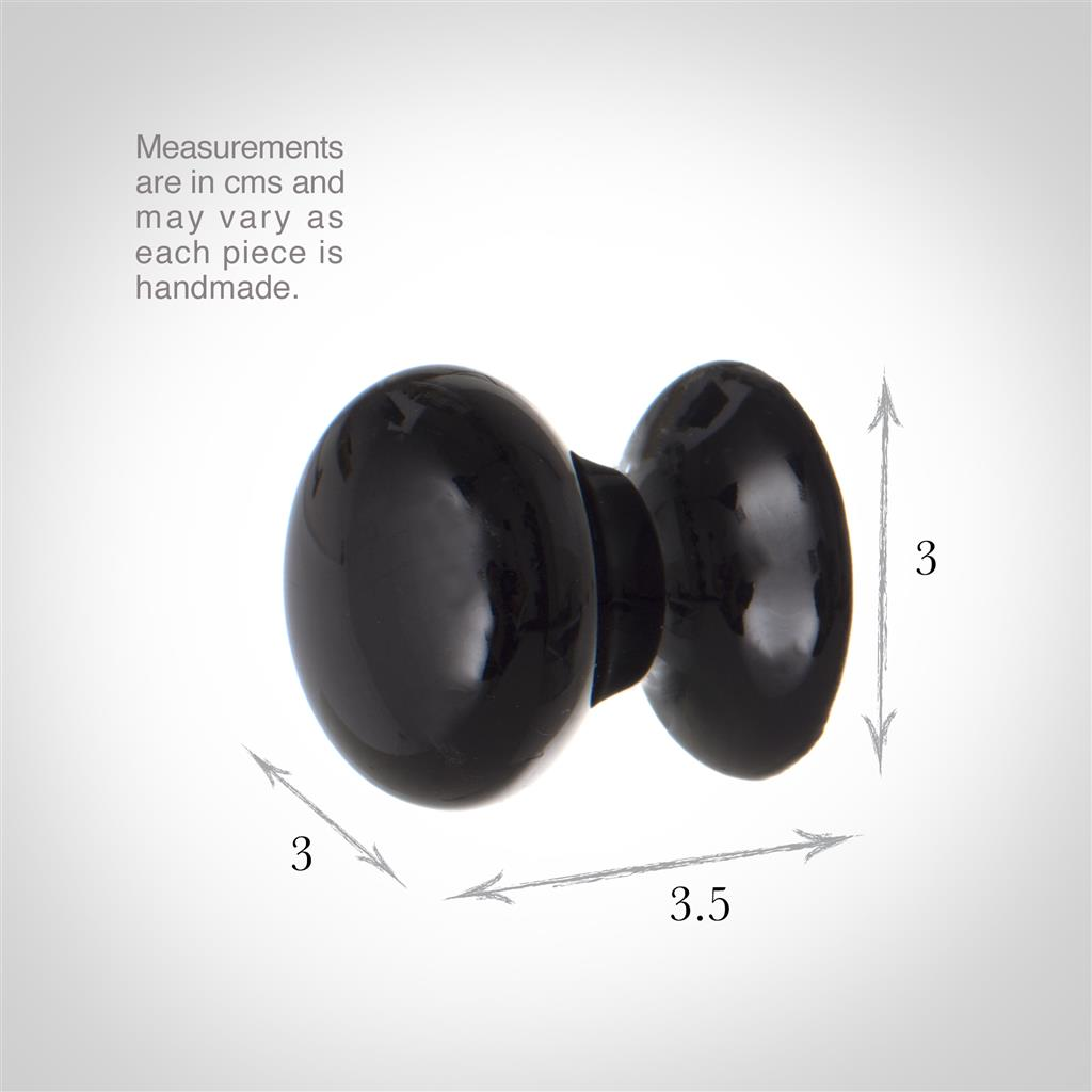 3cm Porcelain Cupboard Knob in Black
