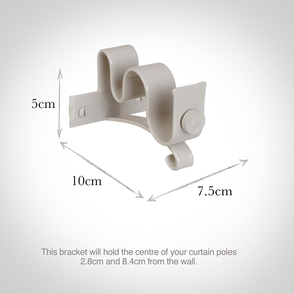 25/12mm Double Pole Centre Bracket in Clay