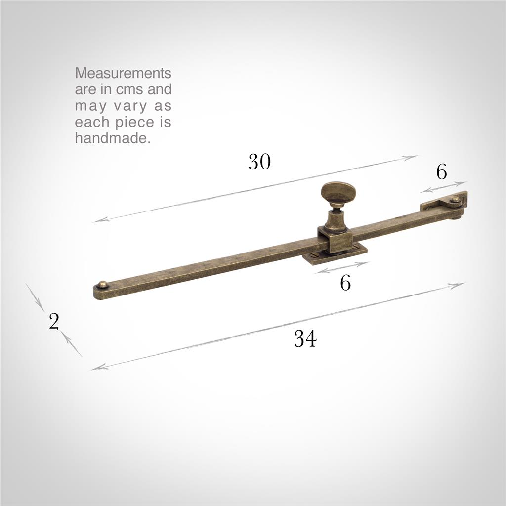 30cm Thumb Screw Window Stay in Antiqued Brass