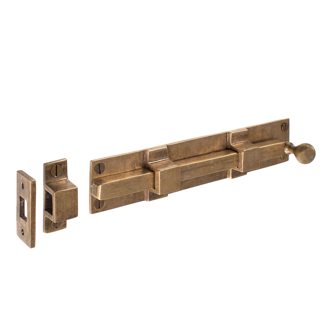Priory Door Bolt in Antiqued Brass
