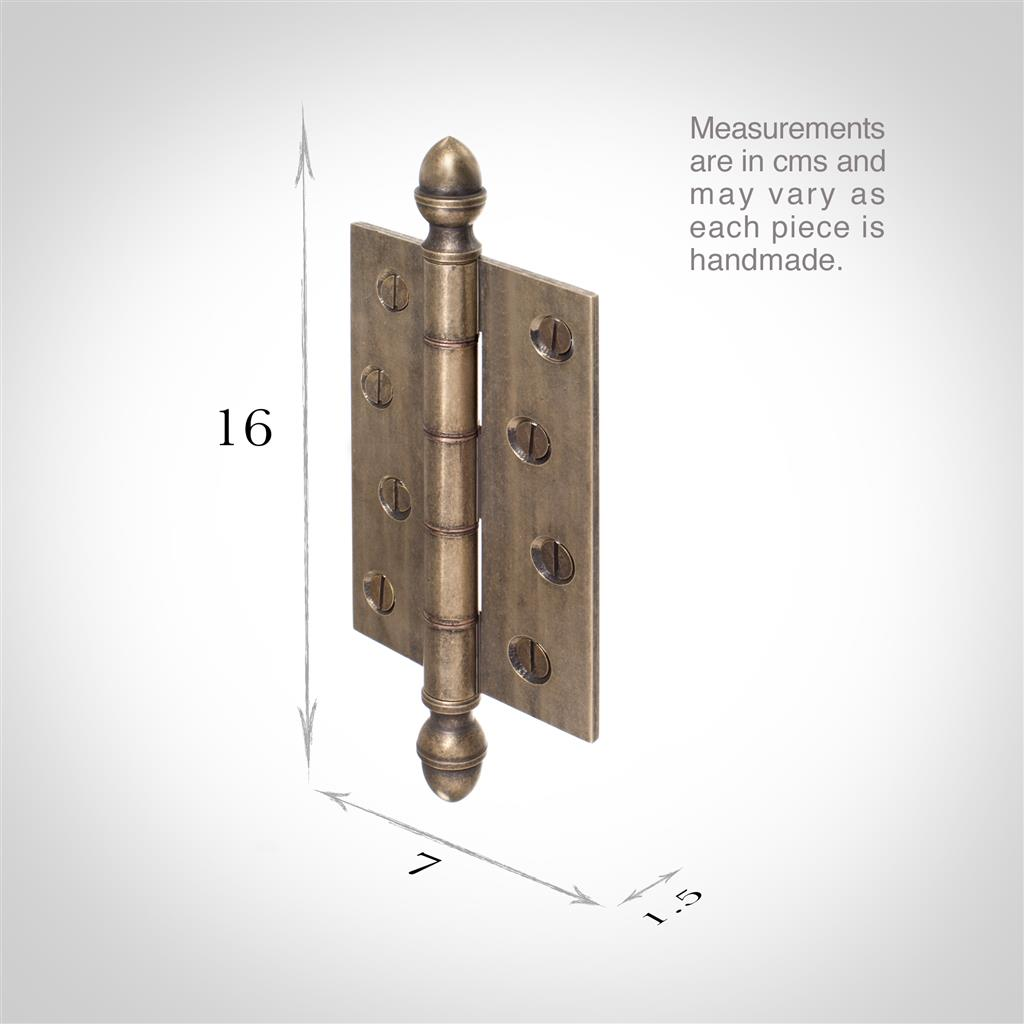 Butt Hinge with Acorn Finials in Antiqued Brass