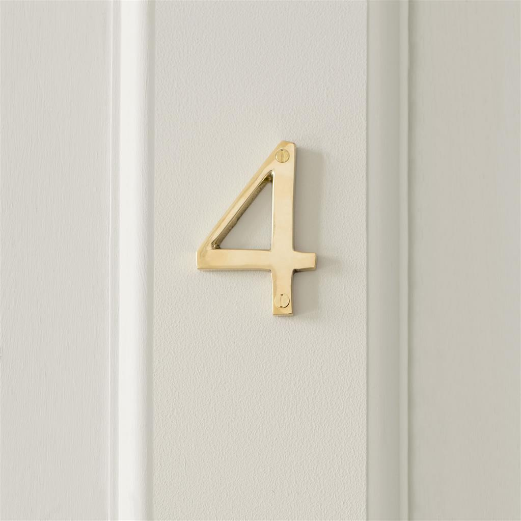 Number 4 in Polished Brass