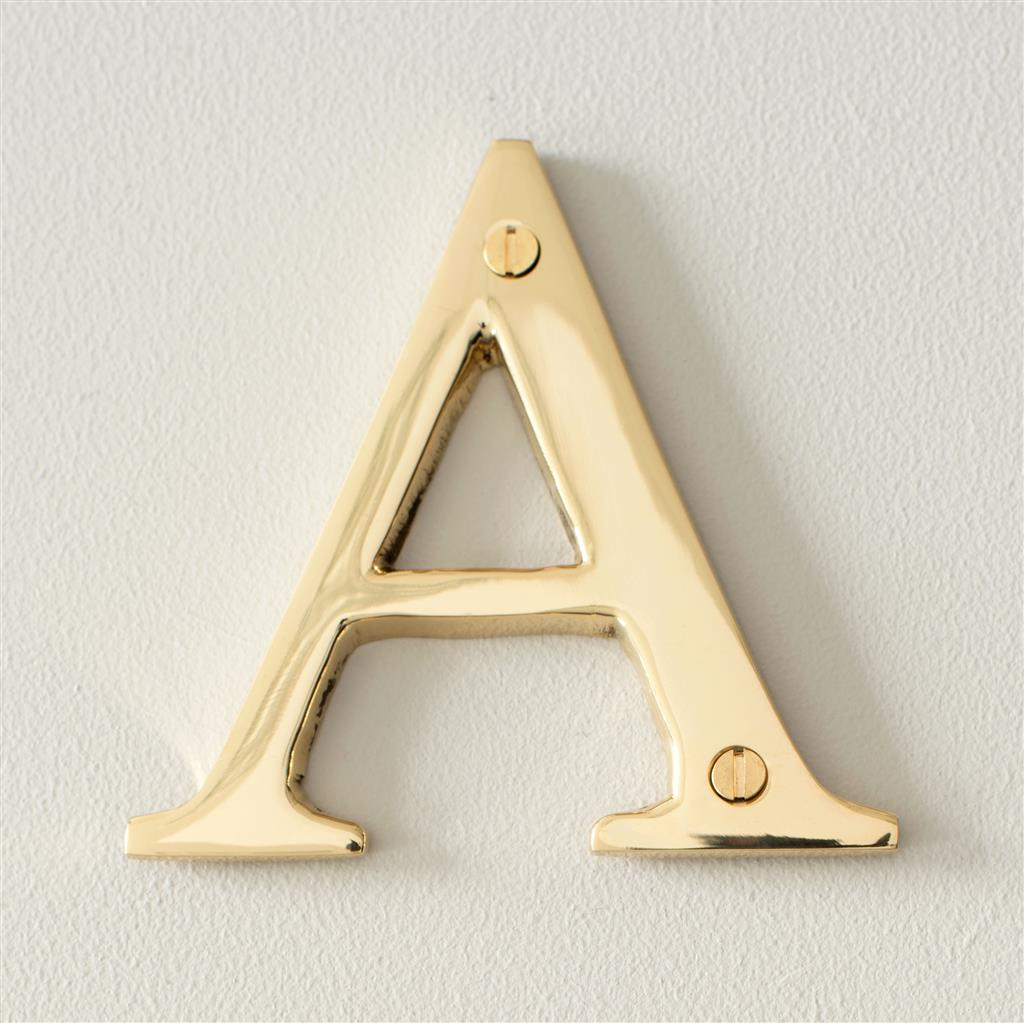 Letter A in Polished Brass