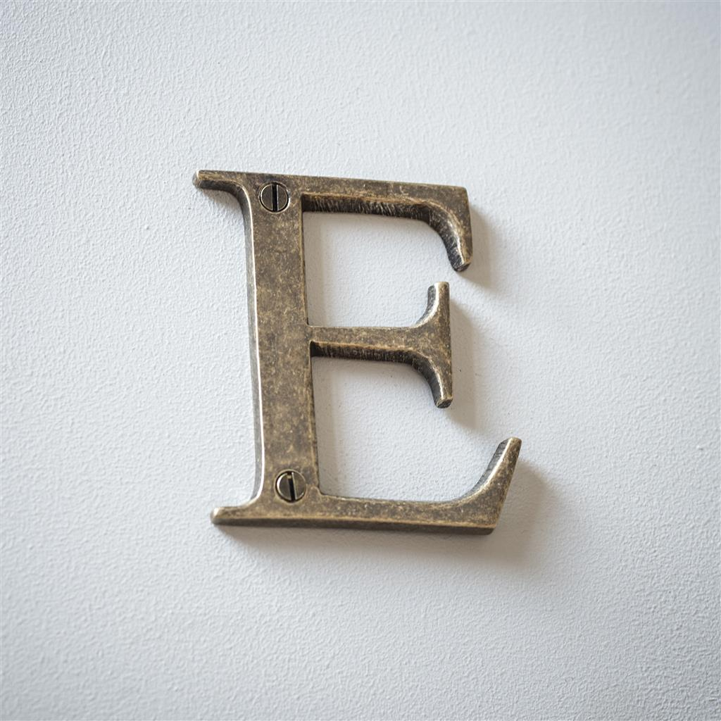Letter E in Antiqued Brass