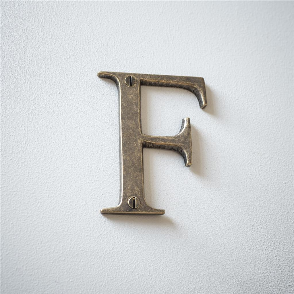 Letter F in Antiqued Brass