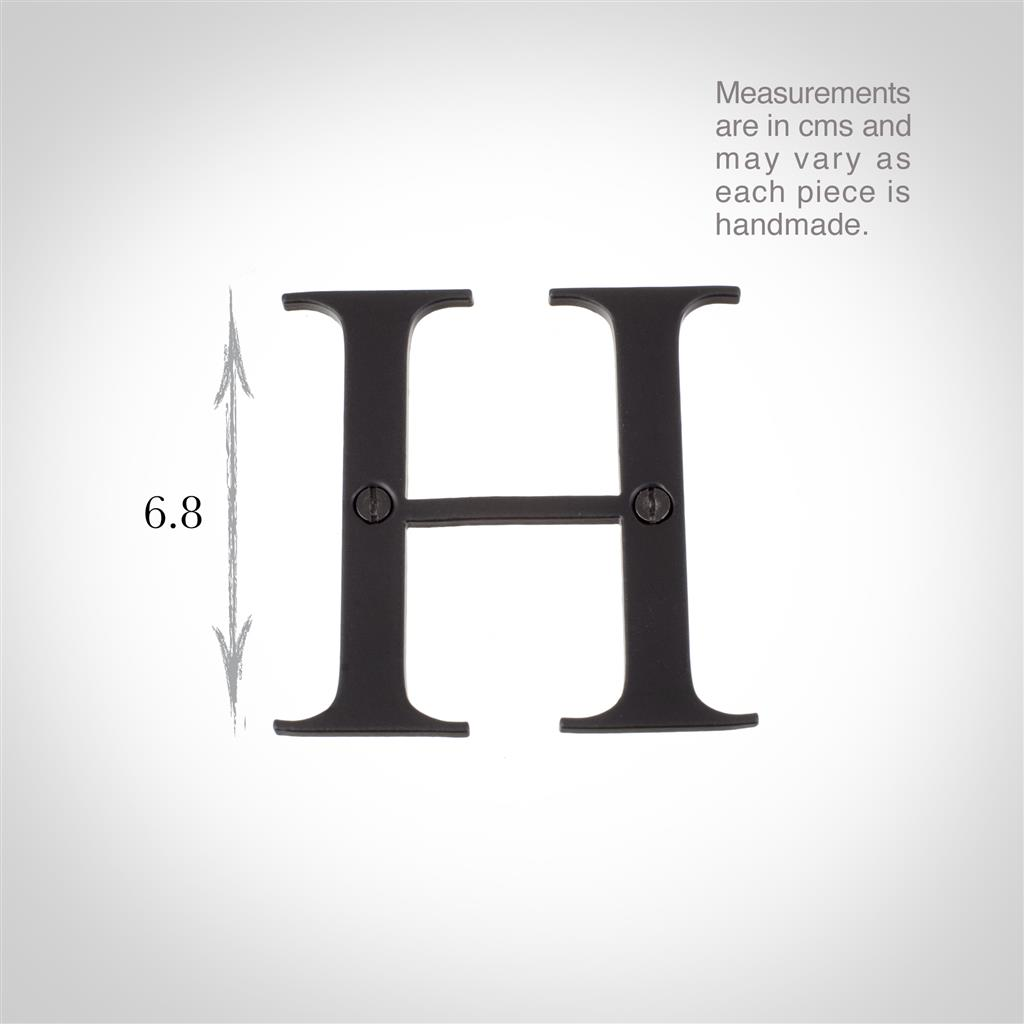 Letter H in Matt Black