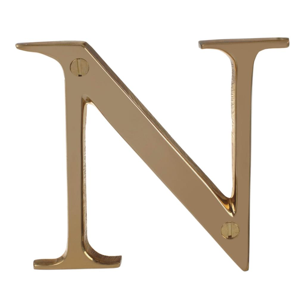 Letter N in Polished Brass
