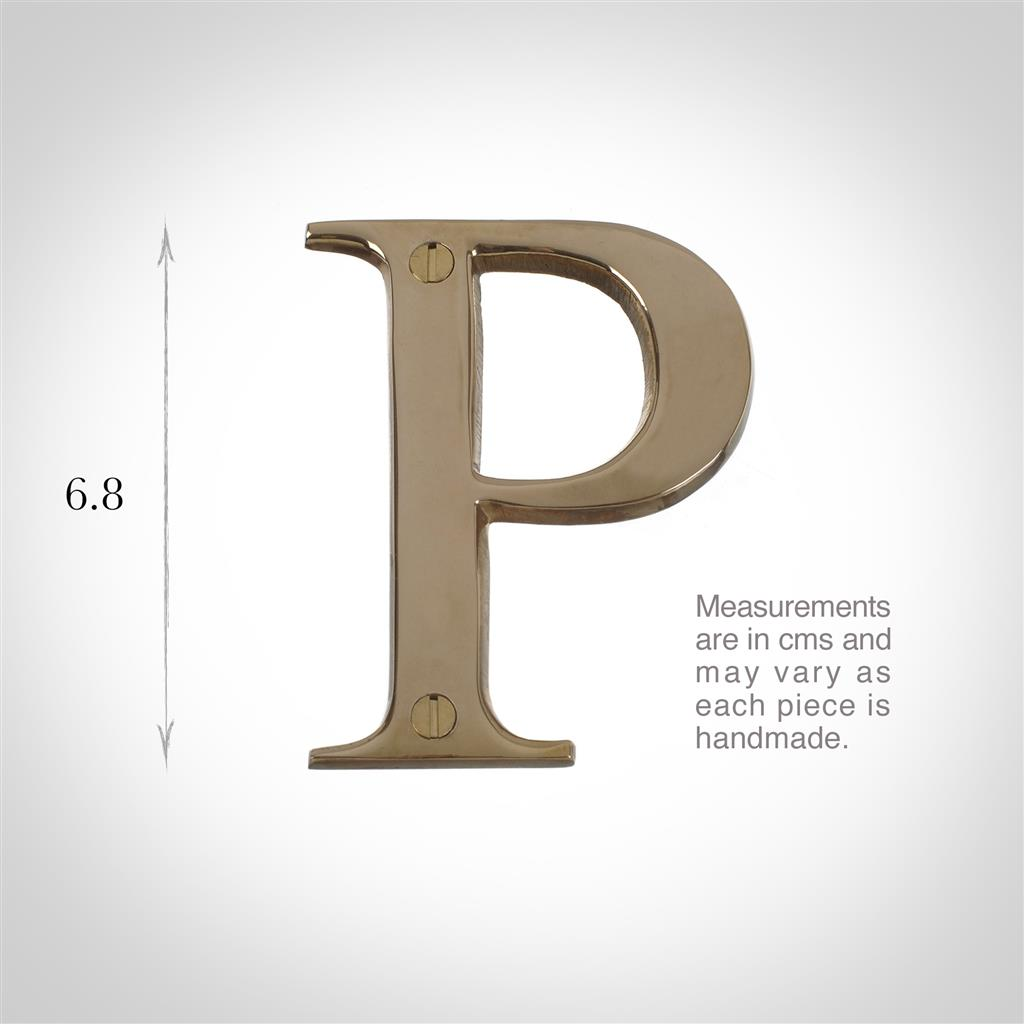 Letter P in Polished Brass