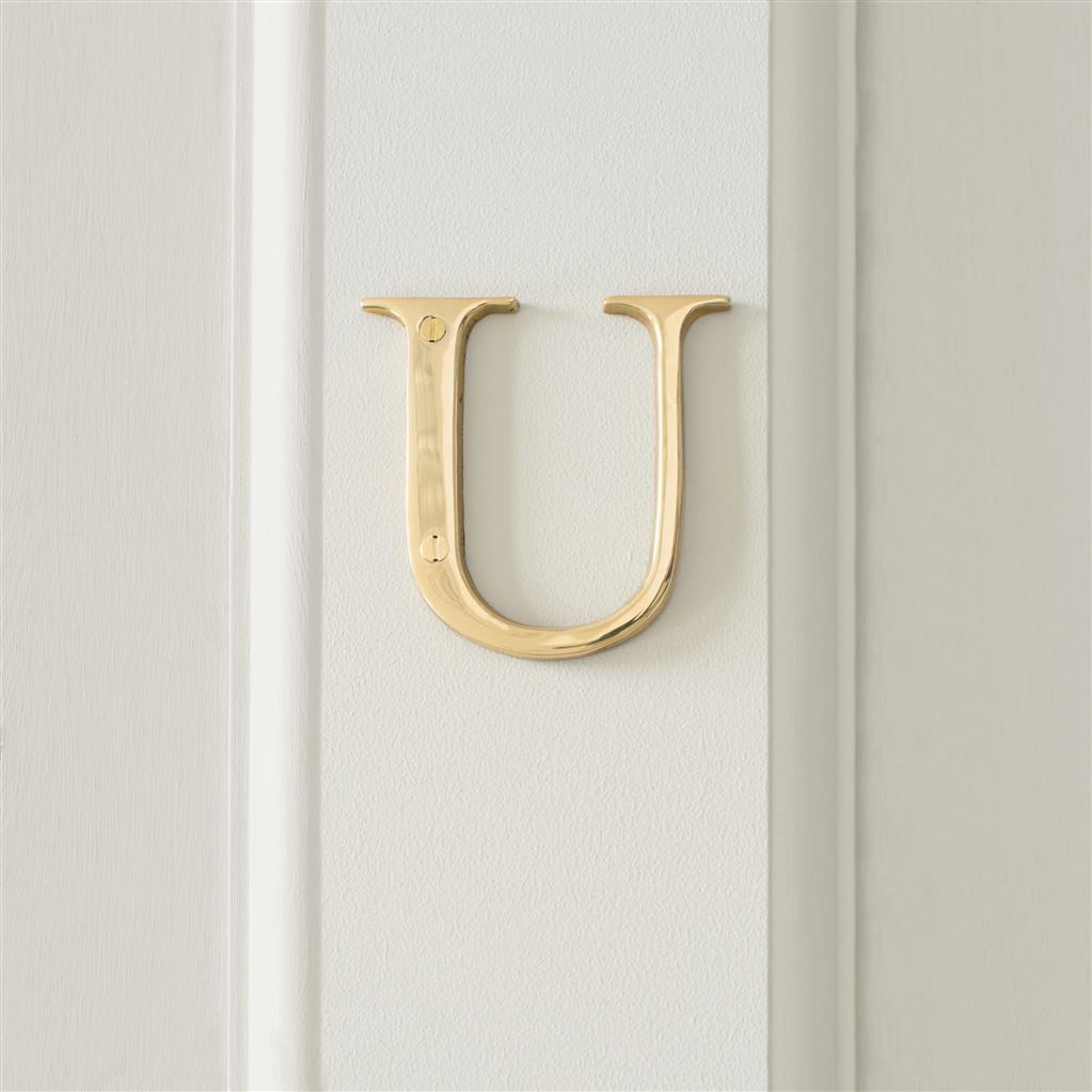 Letter U in Polished Brass