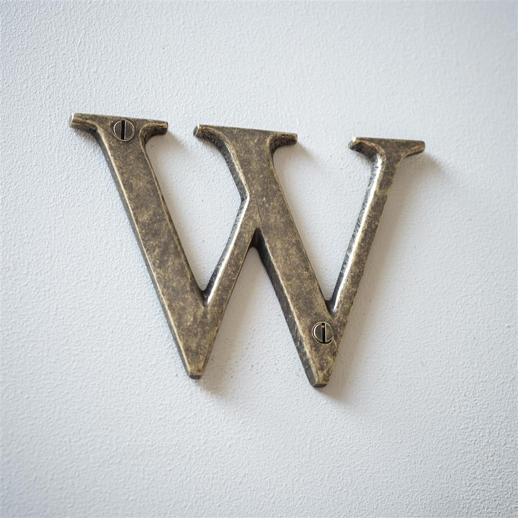 Letter W in Antiqued Brass