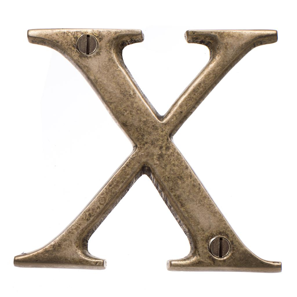 Letter X in Antiqued Brass