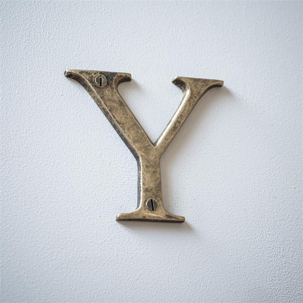 Letter Y in Antiqued Brass